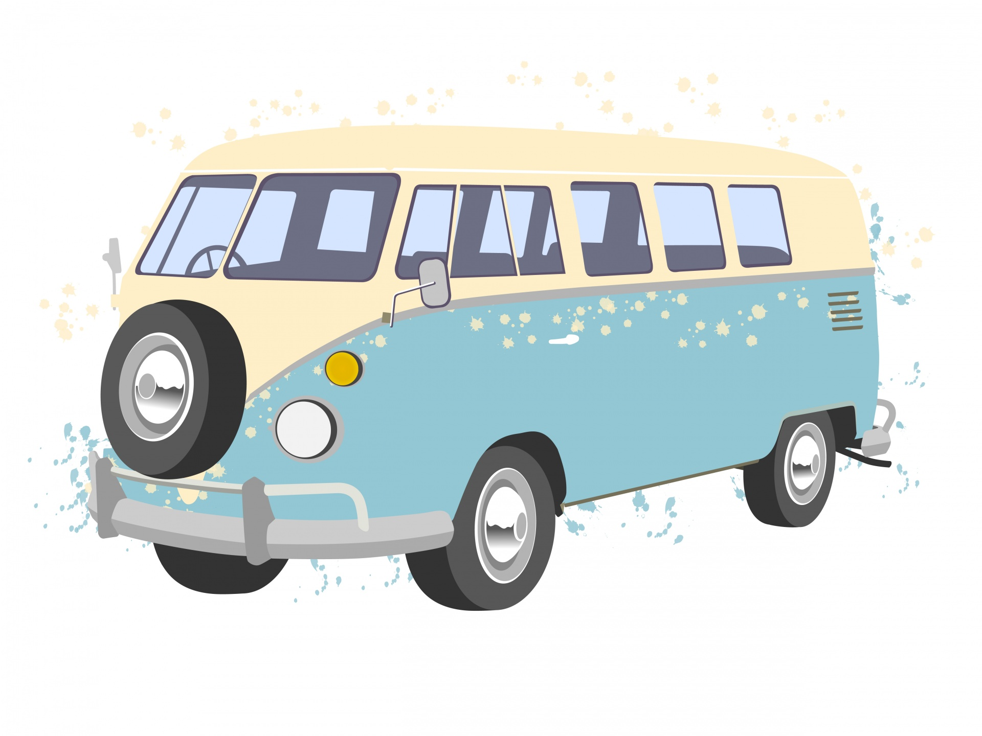 VW camper van illustration with paint splashes on white background
